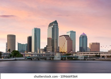 Downtown Tampa Florida Sunset Cityscape