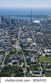 Downtown Toronto, Canada, seen from just above Bloor Street West and Queens Park, looking south towards the Toronto Islands.