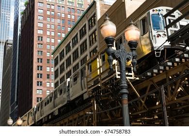Downtown train traveling through the city.  Chicago, Illinois, USA.