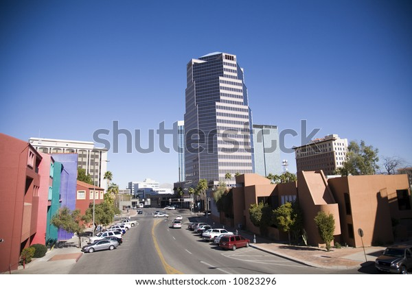 Downtown Tucson Arizona, a mix of old and new architectural styles