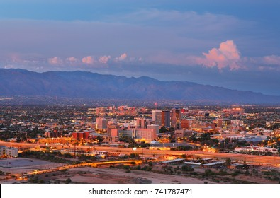 Downtown of Tucson at Sunset Viewing From Sentinel Peak, Tucson, Arizona, USA