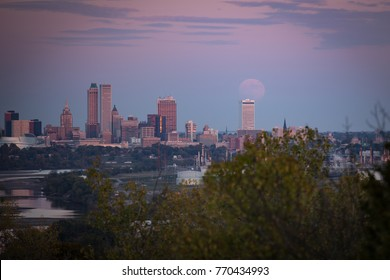 Downtown Tulsa with a Supermoon