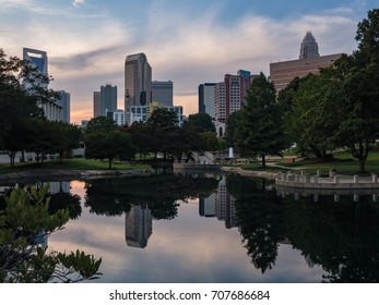 Downtown uptown Charlotte, North Carolina skyline at sunset as seen from Marshall Park