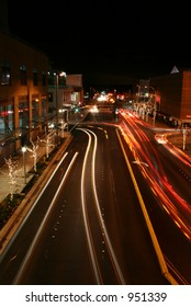 Downtown Urban Street at Bellevue Washington with Blurred Automobile Lights