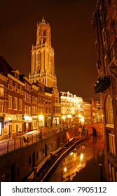 Downtown Utrecht, The Netherlands. It's dark.