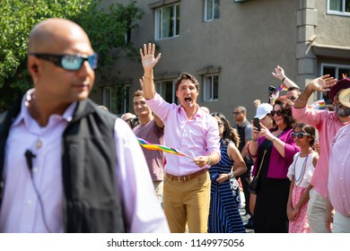 Downtown Vancouver, British Columbia, Canada - August 5, 2018: Canadian Prime Minister Justin Trudeau is celebrating Gay Pride Parade.