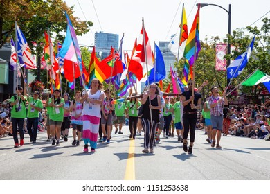 Downtown Vancouver, British Columbia, Canada - August 5, 2018: People celebrating the Gay Pride Parade.