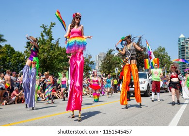 Downtown Vancouver, British Columbia, Canada - August 5, 2018: People celebrating at the Gay Pride Parade.