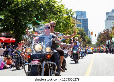 Downtown Vancouver, British Columbia, Canada - August 5, 2018: People on motorcycles are celebrating the Gay Pride Parade.