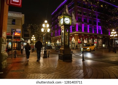 Downtown Vancouver, British Columbia, Canada - December 15, 2018: Street view of Gastown during a winter night.