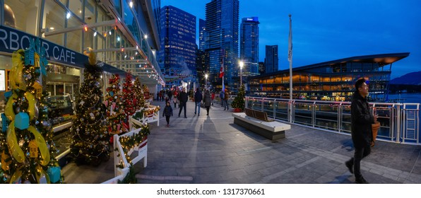 Downtown Vancouver, British Columbia, Canada - December 31, 2018: Panoramic view of Canada Place during New Year's Eve.