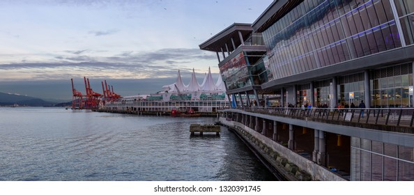 Downtown Vancouver, British Columbia, Canada - December 31, 2018: Panoramic view of Vancouver Convention Centre during New Year's Eve.