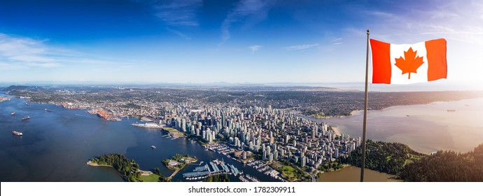 Downtown Vancouver, British Columbia, Canada. Canadian National Flag Overlay. Aerial Panoramic View of the Modern Urban City, Stanley Park, Harbour and Port.