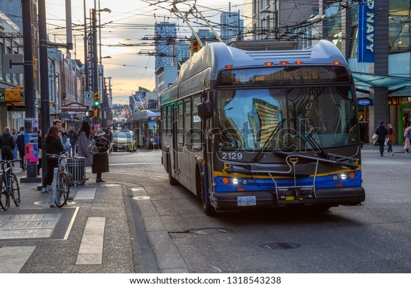 Downtown Vancouver, British Columbia, Canada - December 31, 2018: Bus driving on Granville Street.