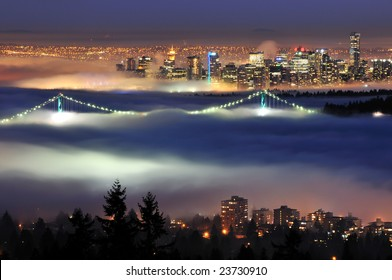 Downtown Vancouver with evening fog viewed from cypress mountain