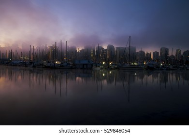 Downtown Vancouver in the fog as seen from Stanley Park, Vancouver, British Columbia, Canada