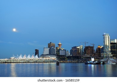 Downtown Vancouver at Moonrise