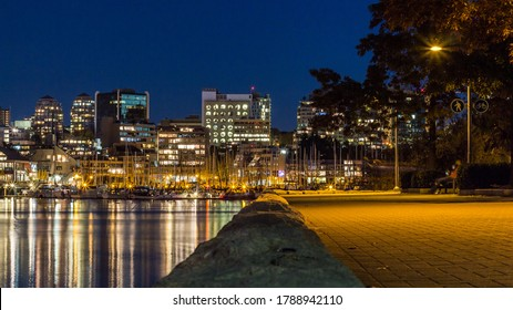 Downtown Vancouver night time city lights