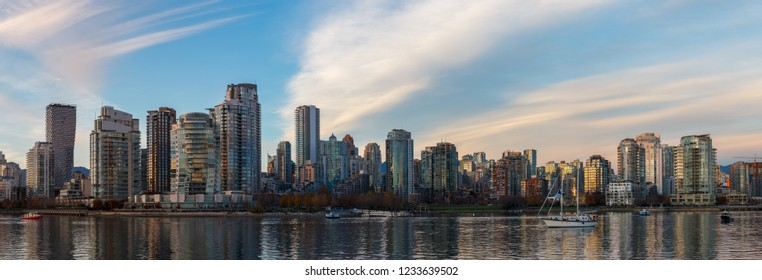 Downtown Vancouver Panorama with wispy clouds in the sky