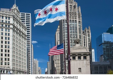 downtown view with the flags
