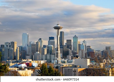 A downtown view of Seattle's business district, Washington, USA.