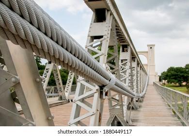 Downtown Waco Suspension Bridge Close Up