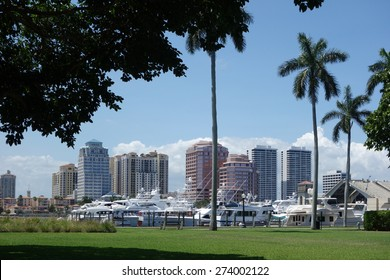 Downtown West Palm Beach, Florida and the Brazilian Docks on Palm Beach
