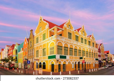 Downtown Willemstad at twilight, Curacao, Netherlands Antilles