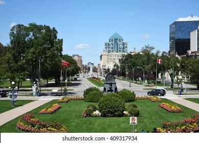 Downtown Winnipeg seen from the Broadway
