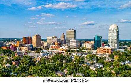 Downtown Winston-Salem, North Carolina NC Skyline Panorama.
