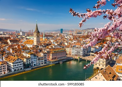 Downtown of Zurich at spring sunny day