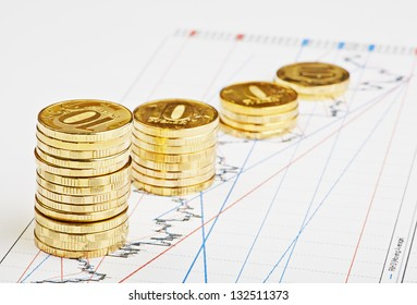Downtrend coins stacks on financial chart. Selective focus