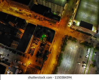 Downward view of city streets