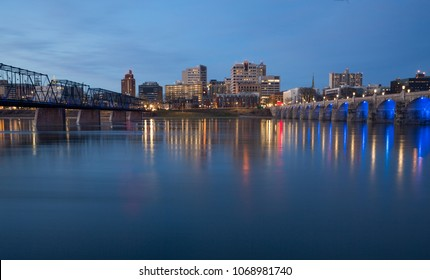 Dowtown Harrisburg PA at night with the