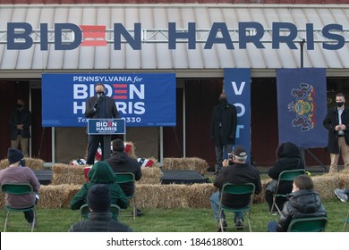 DOYLESTOWN, PA – November 2, 2020: Doug Emhoff, center, the husband of vice presidential candidate Kamala Harris, addresses supporters in Bucks County on the eve of the 2020 presidential election.