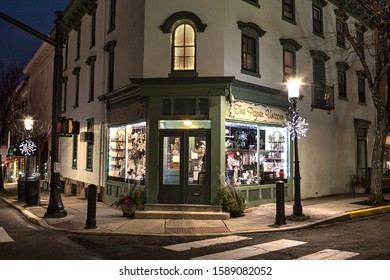 Doylestown, Pa. USA, Dec. 15, 2019: store front at night in Doylestown, Pa. USA. DEc. 15, 2019 in Doylestown, Pa. USA.
