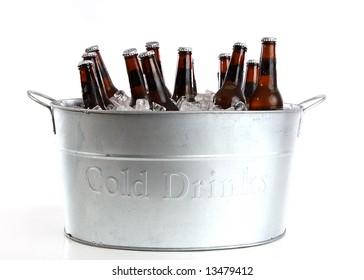 Dozen beers in a silver bucket