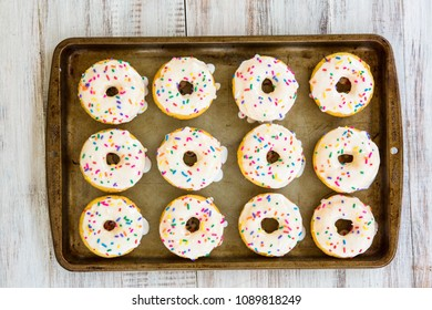 A dozen cake donuts breakfast treats on a sheet pan