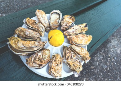 A dozen oysters and a lemon on a plastic plate eating outdoors near the sea