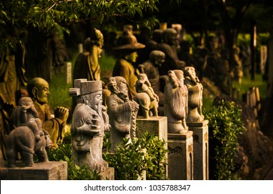 Dozens of minature buddha statues in a temples park in Kyoto. Warm sunset lighting and close up view.