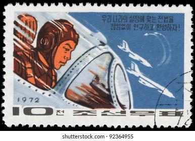 DPR KOREA - CIRCA 1972: A stamp printed by DPR KOREA (North Korea) shows spaceship, circa 1972