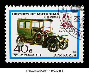 DPR KOREA - CIRCA 1986: A stamp printed by DPR KOREA shows the historic cars. series, circa 1986