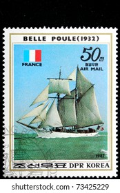 DPR KOREA - CIRCA 1987: A Stamp printed in DPR Korea shows image wind-driven ships Belle Poule, circa 1987