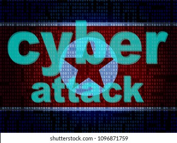 Dprk Cyber Hackers From North Korea 3d Illustration. Shows Attack By Korea And Confrontation Or Online Global Security Virus Vs USA