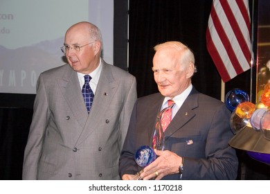 "Dr. Edward ""Buzz"" Aldrin, astronaut, & Robert S. Walker, Chairman, US Space Foundation, at the 22nd Space Symposium, Colorado Springs, April, 2006."