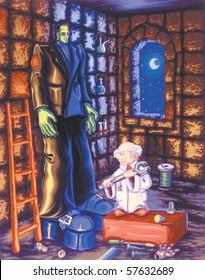 Dr. Frankenstein Children's Painting