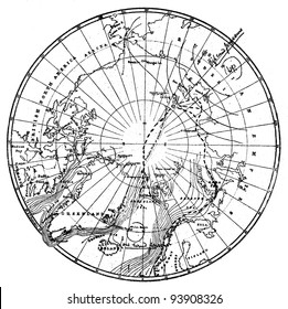 "Dr. Nansen's path across the Arctic Circle. Engraving by Schyubler. Published in magazine ""Niva"", publishing house A.F. Marx, St. Petersburg, Russia, 1893"