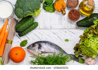 Dr. Pagano diet food assortment on white wooden background. Healthy food for psoriasis disease. Balanced meal eating concept. Copy space