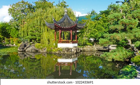 Dr. Sun Yat Sen Park in China town, Vancouver, BC - Japanese garden, the view on the pond and traditional pagoda, October 15, 2017