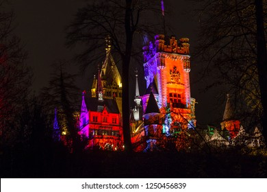 drachenburg castle koenigswinter germany colorful lights at night
